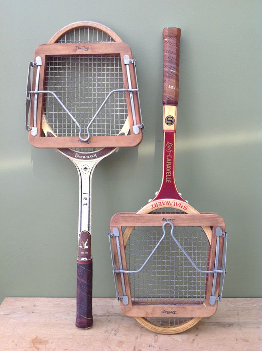 Donnay & Snauwaert & Dunlop  - Vintage tennis rackets with spanners - Wood, strings, leather, metal