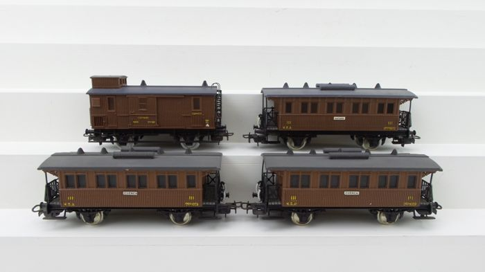 Electrotren H0 - Passenger carriage - 4 Two-axle carriages including luggage carriage - MZA