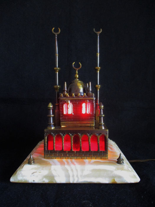 Mosque table/presence lamp - Realist - Alabaster, Brass, Bronze, Marble