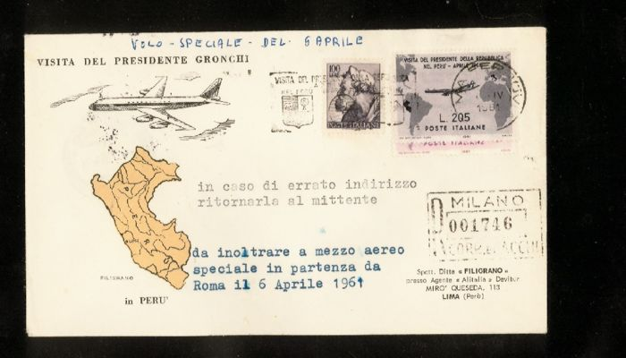 Italy Republic 1961 - The Gronchi Rosa covered on circulated envelope - Sassone N. 921