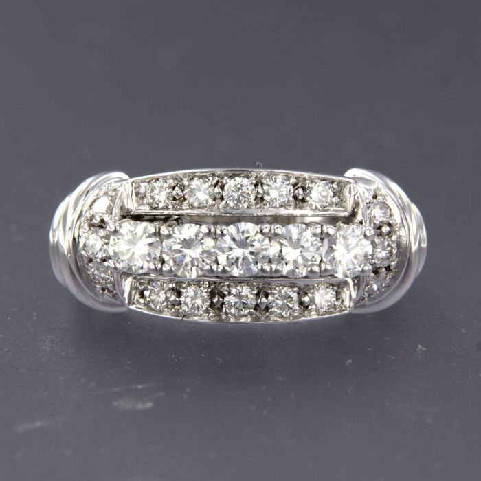14 karat Hvitt gull - Ring - 1.01 ct Diamant