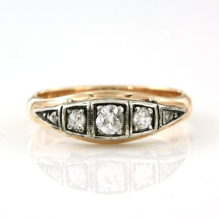 14k rose goud en Z2 zilver Pink gold, Silver - Ring - 0.30 ct Diamond