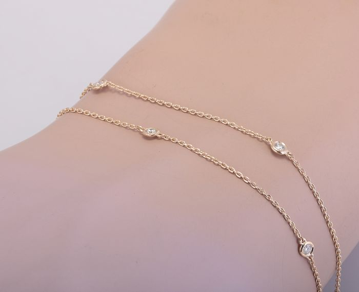 14 kt. Yellow gold - Bracelet, Necklace - 0.50 ct Diamond
