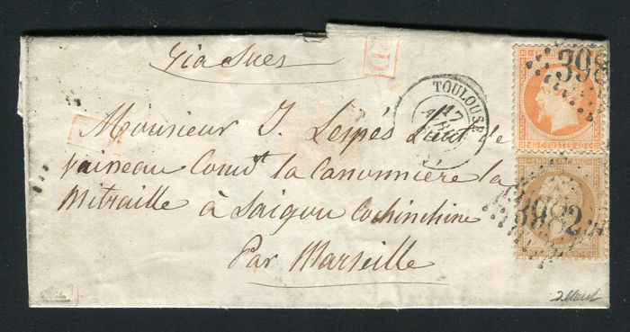 France 1863 - Rare letter from Toulouse to the Expeditionary Corps in Cochinchina in Saigon - Signé Calves