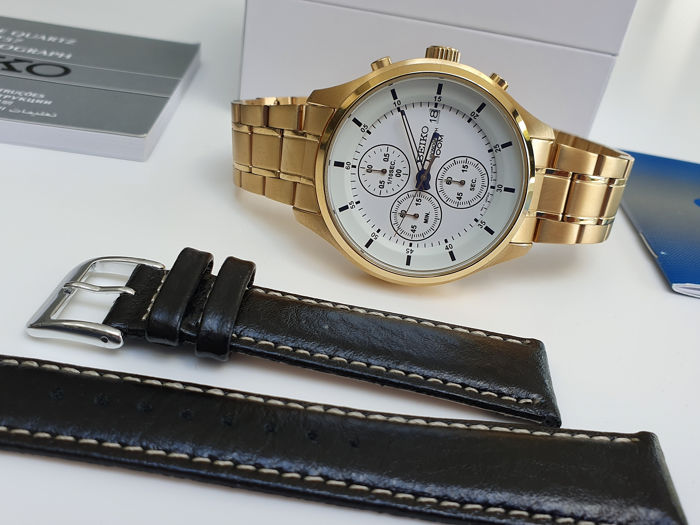 Seiko - classic chrono gold plated with deployment clasp+ free leather strap - Heren - 2019