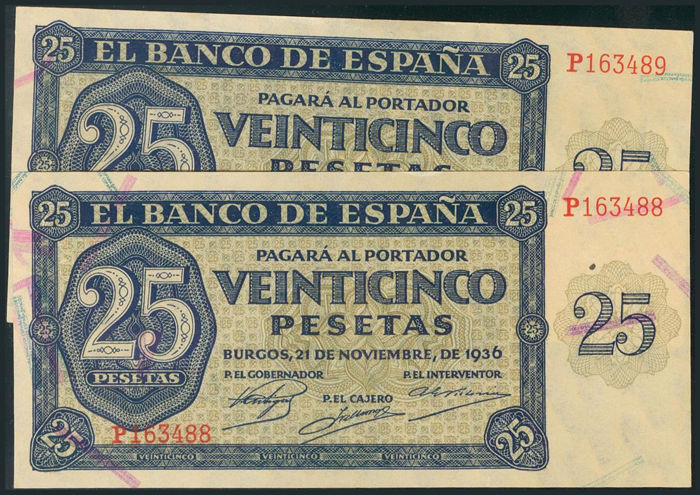 Spain - Pareja correlativa de 25 pesetas 1936 - serie-P - Pick 99