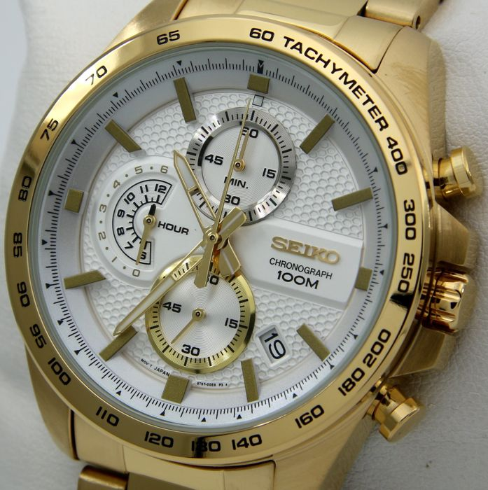 "Seiko - Chronograph 100M ""Gold-White Dial"" - ""NO RESERVE PRICE"" - Men - 2019"