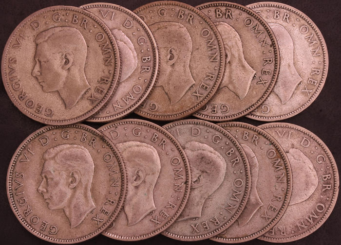 United Kingdom - Florins 1937-1946 George VI (10 pieces)  - Silver