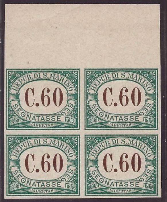 San Marino 1897 - archive proof of 60c postage due in block of four - Sassone N. 5