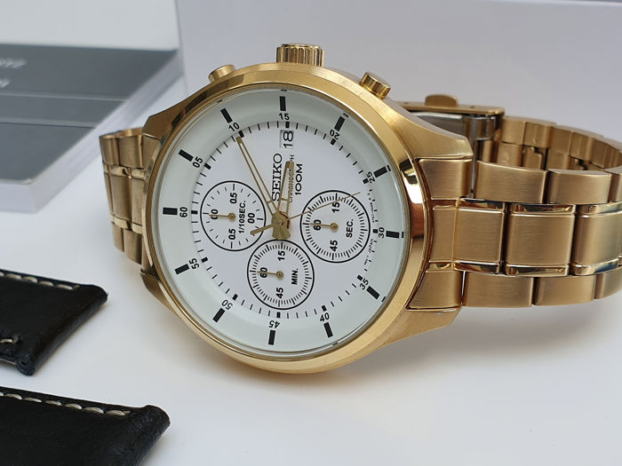 Seiko - classic chrono gold plated with deployment clasp+ free leather strap - Men - 2019