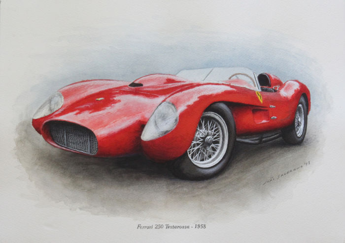 Original Illustration auf Papier - Ferrari 250 Testarossa - 2018
