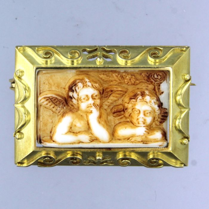 14 kt. Yellow gold - Brooch agate
