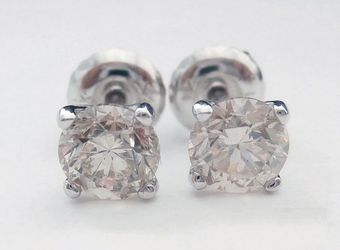 14 kt. White gold - Earrings - Clarity enhanced 0.99 ct Diamond