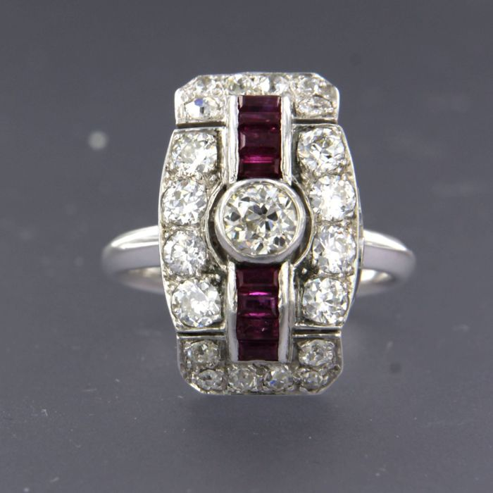 18 karaat Witgoud - Ring - 1.50 ct Diamant - Robijn
