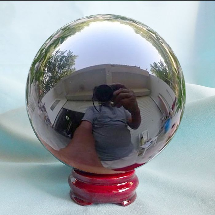 Polished Sphere of Mexican Black Oxidiana + support (68g) - 151×151×151 mm - 4318 g