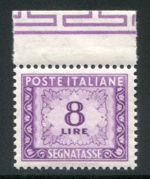 Italy Republic 1955 - 8 lire star watermark with sheet margin at the top - Sassone N. 112