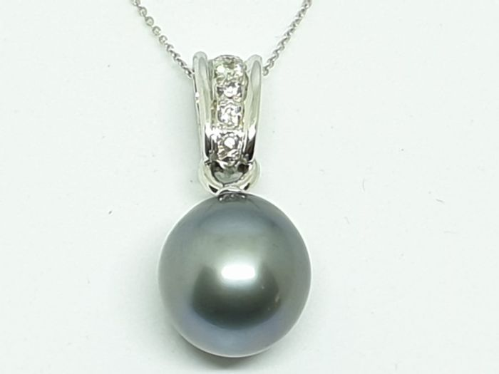 18 kt. White gold - Pendant - 0.12 ct Diamond - Pearl
