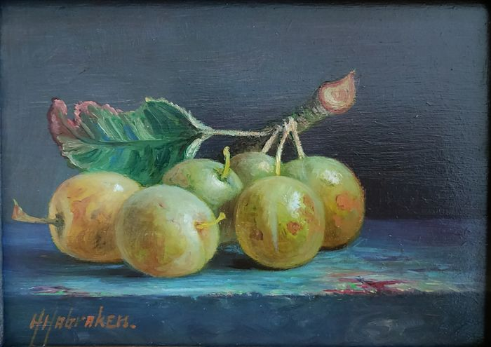 Hans Habraken (1946) - Still life with plums