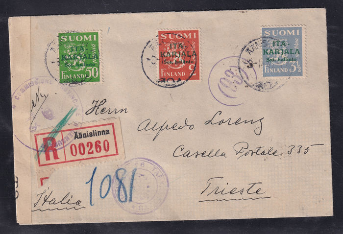 Finland Karelië bezetting 1941 - Rare registered mail from Aanislinna to Trieste with pad cancellations for censorship - Yvert diversi numeri di catalogo