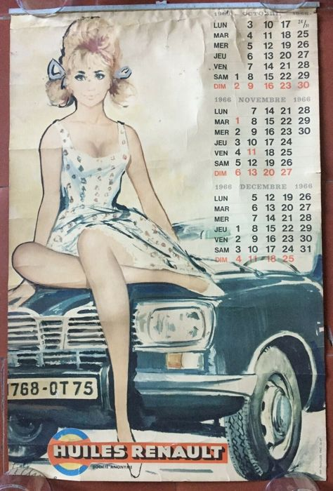 Poster - Calendrier Huiles Renault - 1966