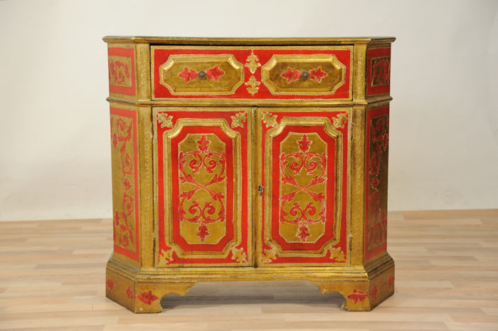Credenza, Sideboard, entrance furniture, entirely gilded and lacquered, 1950s