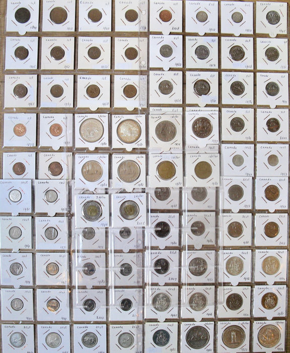 Canada - Cent till 2 Dollars 1899/2012 (90 different) incl. 24x silver