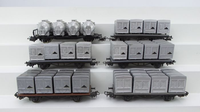 "Liliput H0 - 201/L235125 - Freight carriage - 6 wagons, 5 with NS load boxes and 1 with DB ""Von Haus Zu Haus"" - DB, NS"