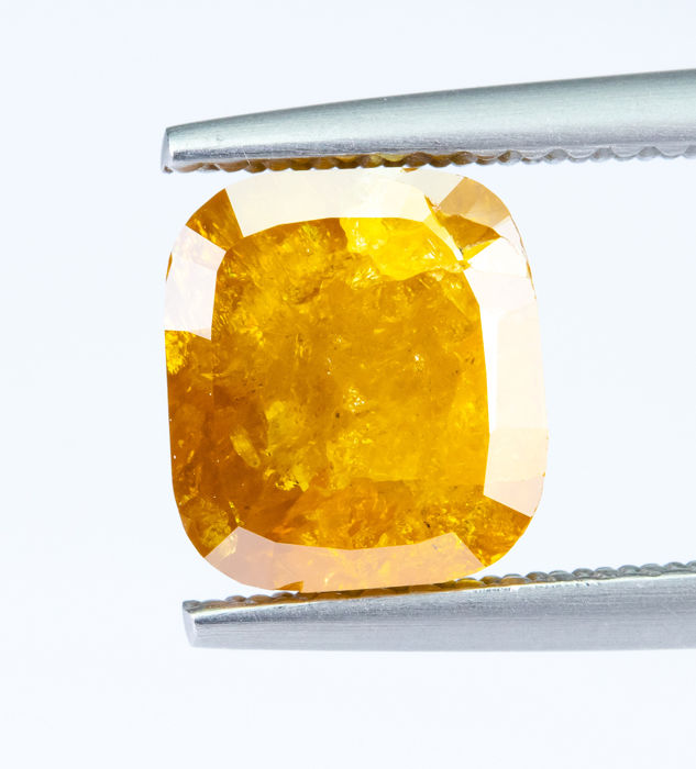 Diamante - 2.27 ct - Natural Fantasía INTENSO Naranja-Amarillo - I3  *NO RESERVE*