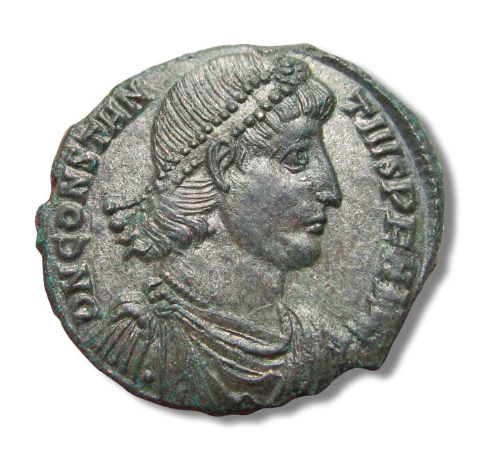 Roman Empire - Large 23mm AE silvered Centenionalis Constantius II, Constantinople mint 348-351 A.D. - CONSS (?) - Silvered bronze/copper