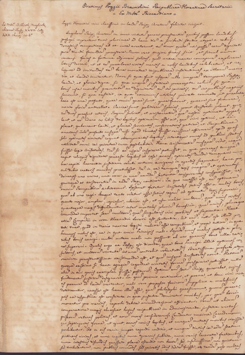 Manuscript; Poggio Bracciolini's Orations on the Republic of Venice - 1700/1790