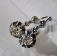 14 kt. White gold - Ca. 1930 Early Germany Handcrafted Earrings, - 0.80 ct European old cut Diamonds G-H/VS - Diamonds