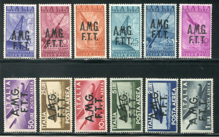 Triest - Zone A 1947 - AMG-FTT, airmail 2 complete sets of 12 values - Sassone PA 1/12