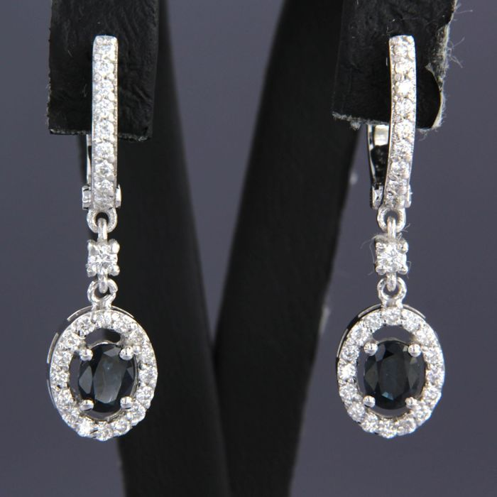 18 quilates Oro blanco - Pendientes - 0.60 ct Diamante - Zafiro