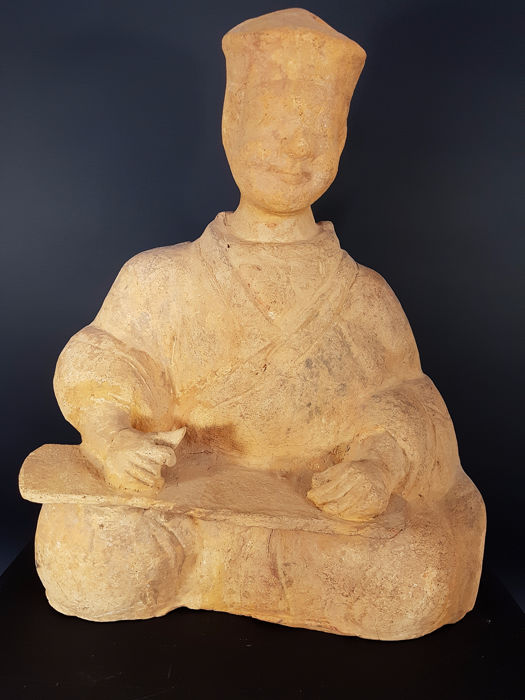 Court Musician, Zither Test Test Thermoluminescence, Short Musician - Terracotta Terracotta - China - HAN period 汉朝 206 BC - 220 AD