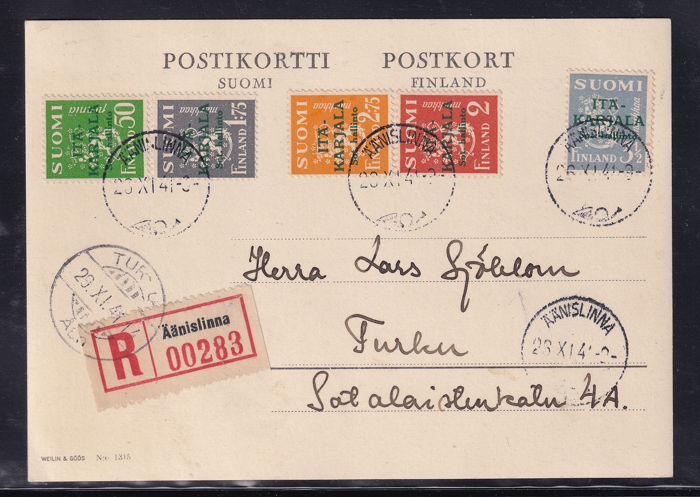 Finland Karelië bezetting 1941 - Rare registered mail from Aanislinna to Turlan on postcard with the set Arms of the Republic