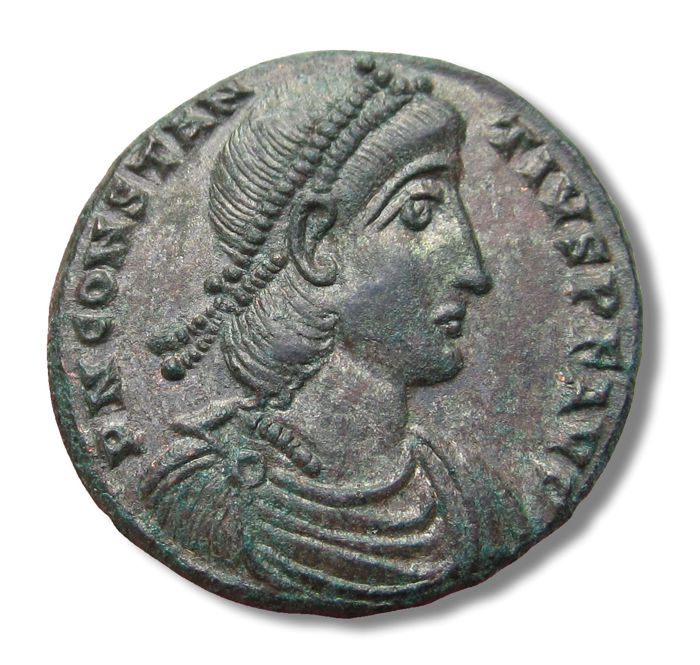 Roman Empire - Large 23mm AE silvered Centenionalis Constantius II, Cyzicus mint 337-361 A.D. - nearly mint state, much better than photo shows - Silvered bronze/copper