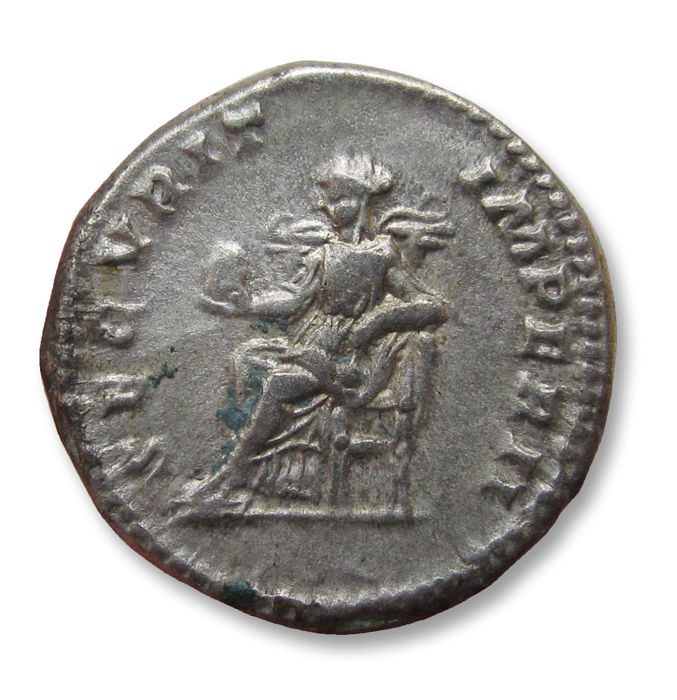 Roman Empire - AR Denarius, Geta as caesar. Rome 200-202 A.D. - SECVRIT IMPERII, Securitas seated left - Silver