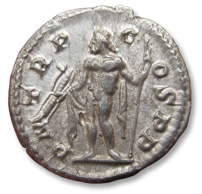 Roman Empire - AR Denarius, Severus Alexander, Rome mint 222 A.D. - P M TR P COS P P, Jupiter left - minted in his 1st year - Silver