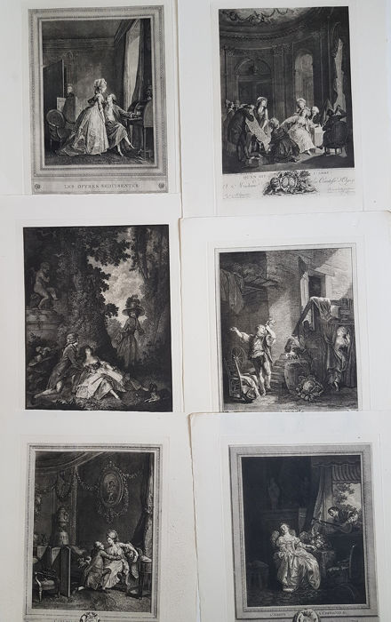 Six engravings after French paintings - Scenes with lovers