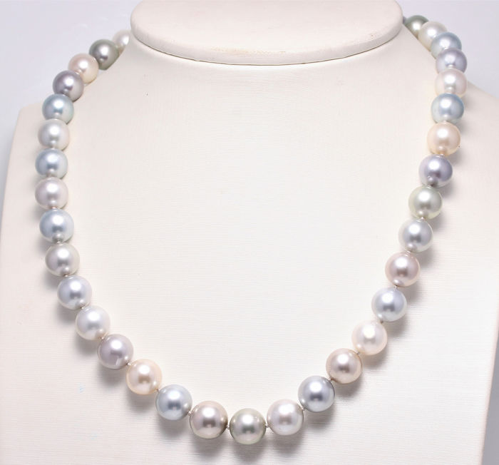 NO RESERVE PRICE - 14 carats Or blanc - Perles de Tahiti multicolores de 9,2x11,4 mm - Collier