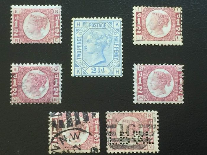 Groot-Brittannië 1870/1881 - QV Mint SG157 plate 22; Mints SG48/49, plates 12,13,14 and 15; Used perfin SG48/49 plates 19 and 20. - Stanley Gibbons 157, 48/49