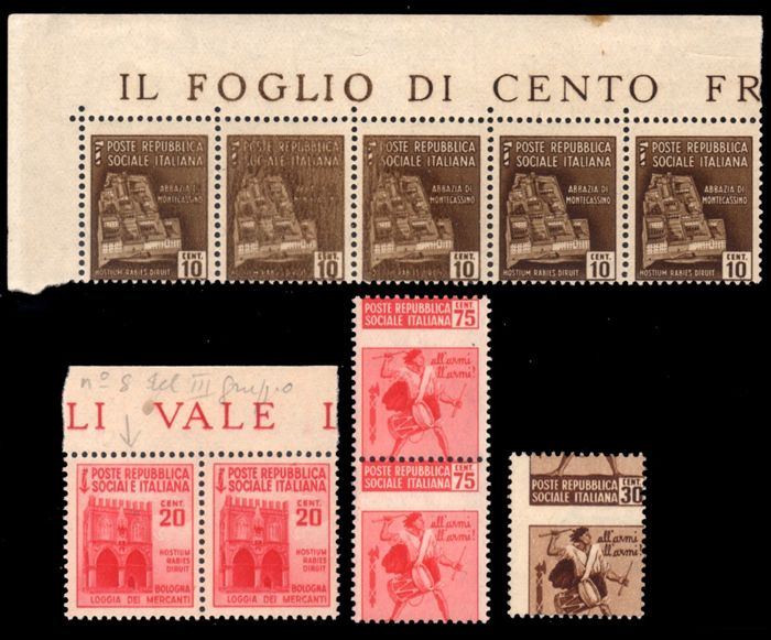 Italy 1944/1945 - RSI destroyed monuments 4 varieties - Sassone N. 503b, 504aa, 506d, 508cb