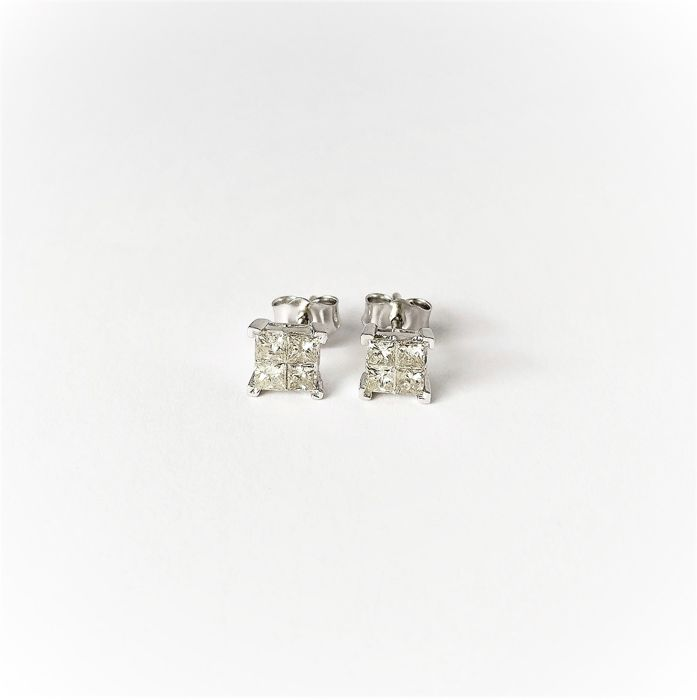 14 kt. White gold - Earrings - 0.59 ct Diamond