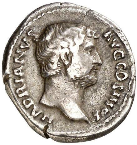 Roman Empire - Denarius - Hadrian (117 - 138 A.D.). Rome, 132-134 A.D. - FORT REDVCI, Hadrian clasping hands with Fortuna . - Silver