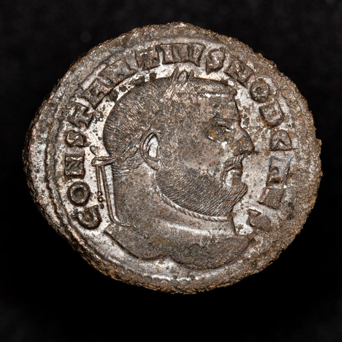 Empire romain - Large Follis - Constantius I as caesar 293-305 A.D. - Carthago mint. - SALVIS AVGG ET CAESS FEL KART - Carthago. - Bronze Argenté