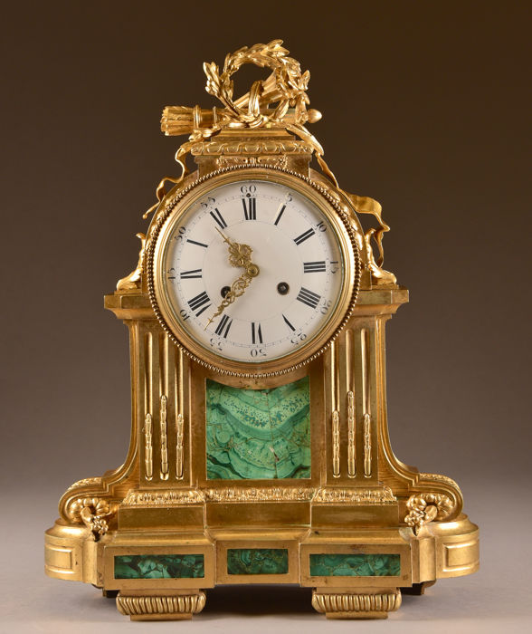 Large (51 cm) bronze mantle clock with Malachite - Raingo Freres ( 1775 – 1847) - Bronze (gilt/silvered/patinated/cold painted), Malachite - Early 19th century