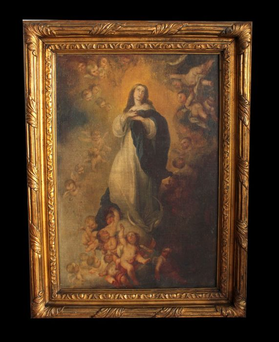 Painting Oil Painting On Paper Attached On Canvas Depicting The Immaculate Early 19th Century Catawiki