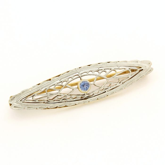 14 kt. White gold, Yellow gold - Antique Bar Pin - 0.10 ct Sapphire
