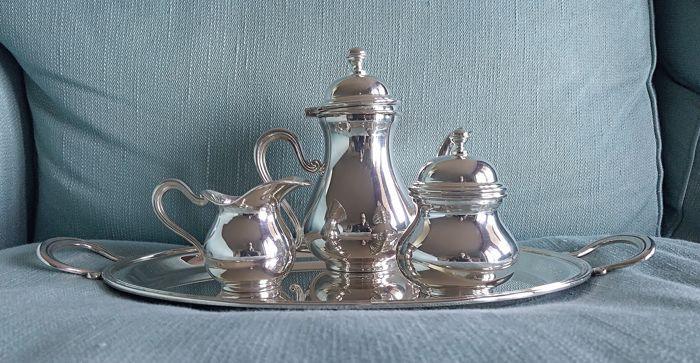 Coffee service, with oval handled tray  (4) - .800 silver - Italy - 1990 circa