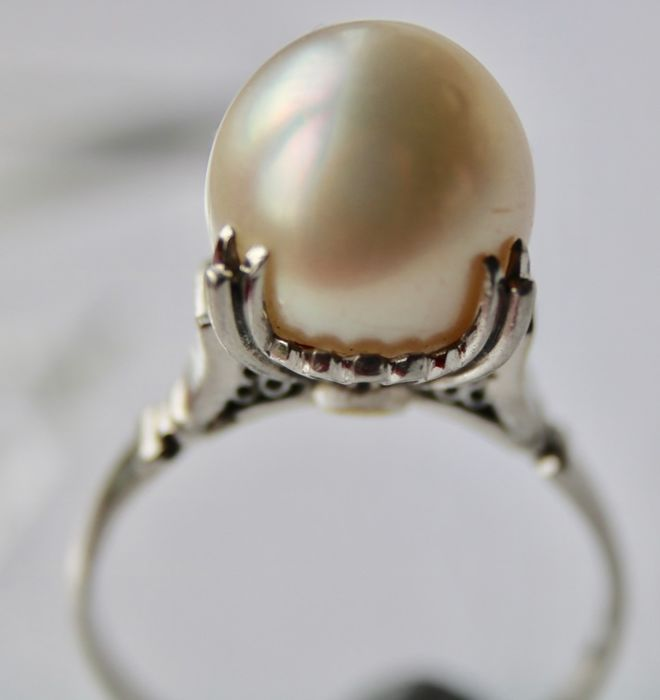 """Maker's marks """"PM"""" and """"star"""" Platinum - Vintage handcrafted Ring Australian South sea pearl ø10.6mm"""